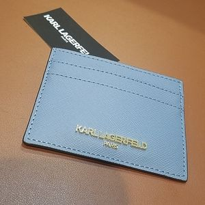 Karl Lagerfeld card case chambray blue NWT